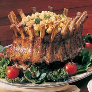 Mushroom-Broccoli Stuffed Crown Roast