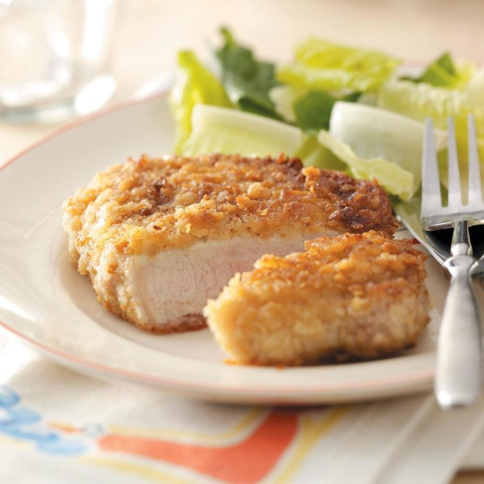 How do you prepare breaded pork cutlets
