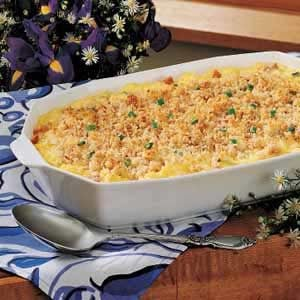Scrambled Egg Casserole with Cheese Sauce