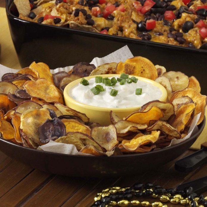 Rainbow Potato Chips with Creamy Onion Dip