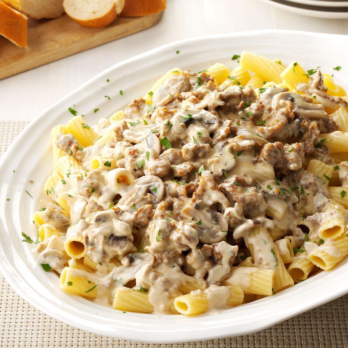Creamy Sausage-Mushroom Rigatoni