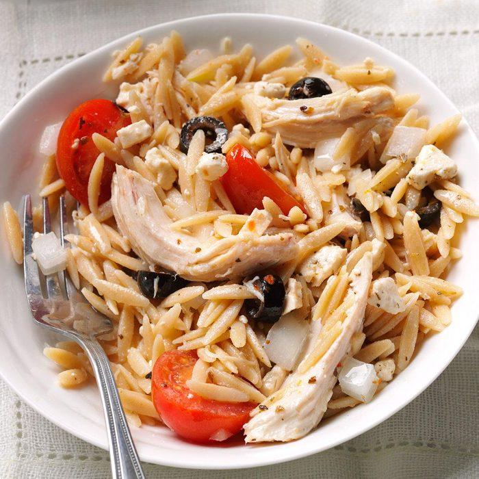 Mediterranean Orzo Chicken Salad