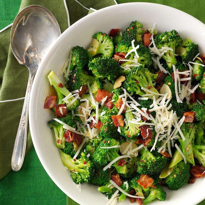 Broccoli with Garlic, Bacon & Parmesan