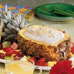Pineapple Boat with Fluffy Fruit Dip