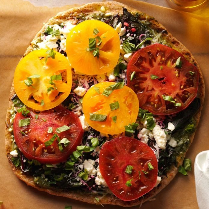 Grilled Pizza with Greens & Tomatoes