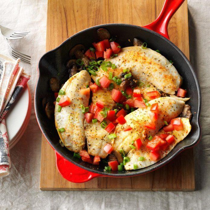 Lemon-Pepper Tilapia with Mushrooms