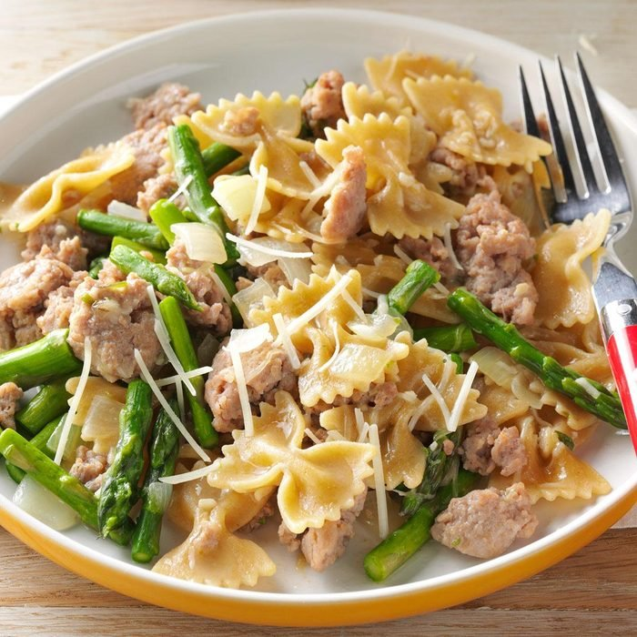 Day 10: Bow Ties with Sausage & Asparagus