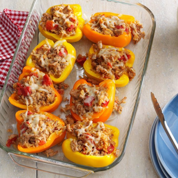 Day 28: Turkey-Thyme Stuffed Peppers