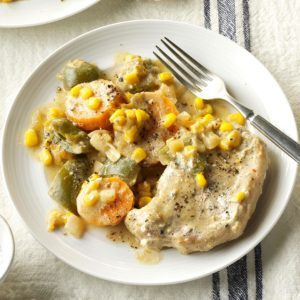 Green Chili Chops with Sweet Potatoes