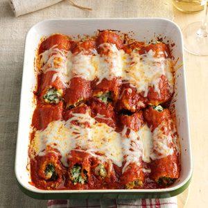 Make-Ahead Spinach Manicotti