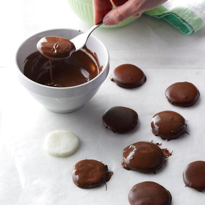 Homemade chocolate peppermint patties.
