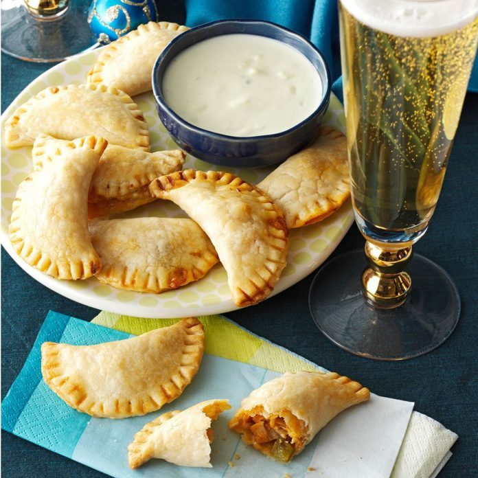 Buffalo Chicken Empanadas with Blue Cheese Sauce