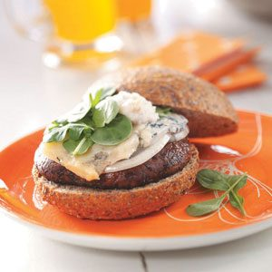 Portobello Burgers with Pear-Walnut Mayonnaise
