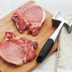 Preparing raw meat for cooking
