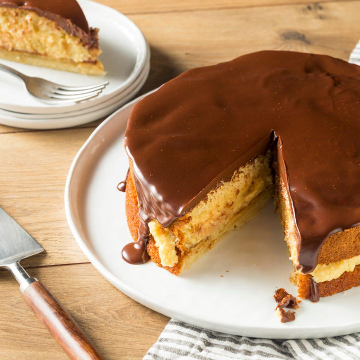 Homemade Chocolate Boston Cream Pie Ready to Eat; Shutterstock ID 1158397153; Job (TFH, TOH, RD, BNB, CWM, CM): TOH