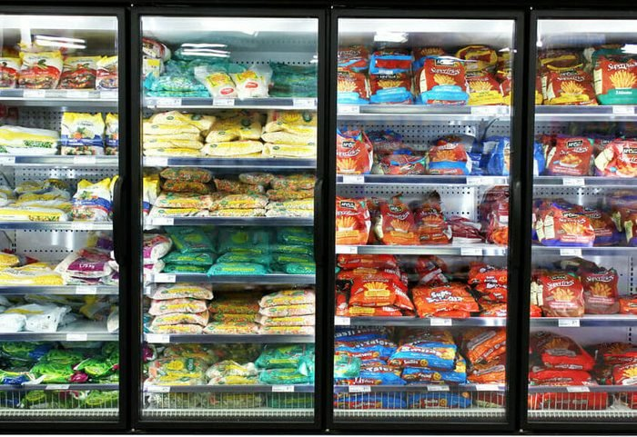 Frozen foods on shelves in a supermarket. In North America, consumption of frozen food has increased in recent years, mostly due to people's busy lifestyle