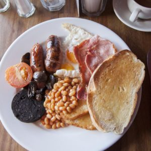 Typical English Breakfast Served with Tea