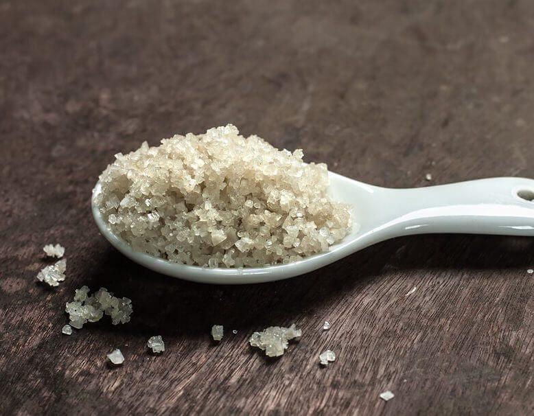 Sel de guerande (gray sea salt) in a spoon
