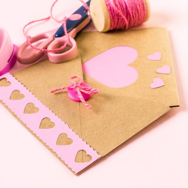 Hand crafted Valentines Day card from recycled paper.; Shutterstock ID 366006002