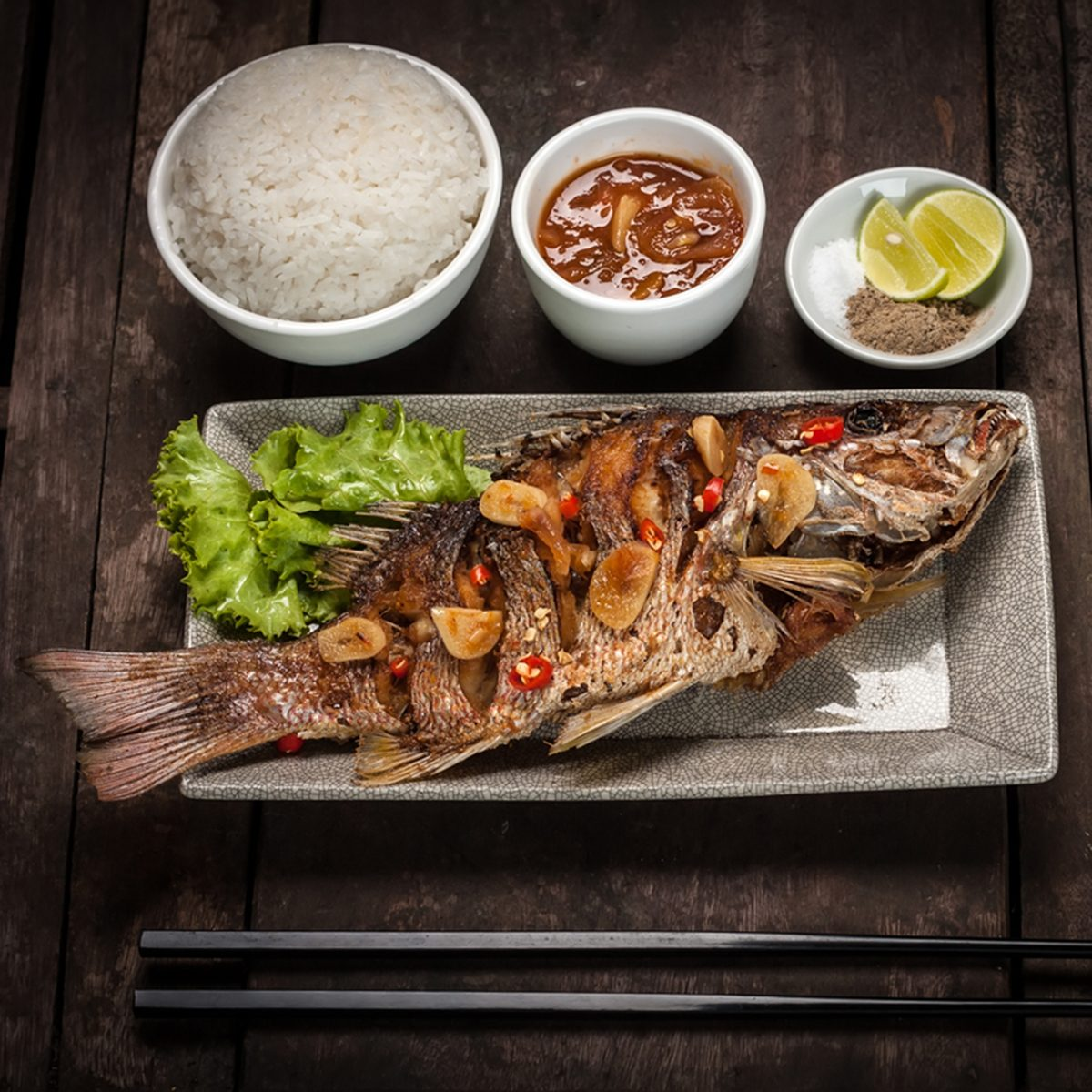 Deep fried red snapper fish served with rice; Shutterstock ID 380180623; Job (TFH, TOH, RD, BNB, CWM, CM): TOH
