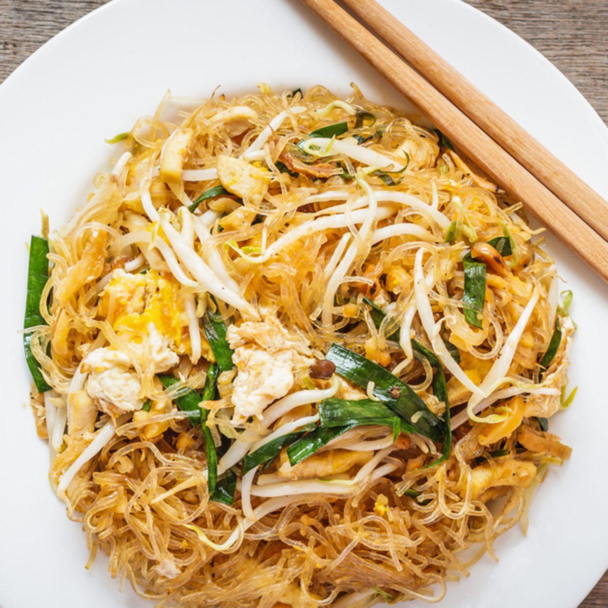 Thai food Pad thai , Stir fry noodles in padthai style; Shutterstock ID 381159880