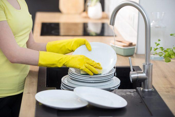 housework in the kitchen, dishwasher