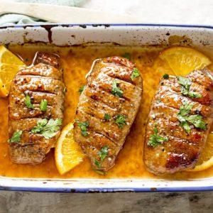 Duck breast in orange sauce marinade