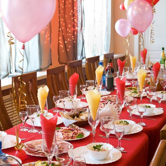 a laid banquet restaurant table with ballons; Shutterstock ID 63963484