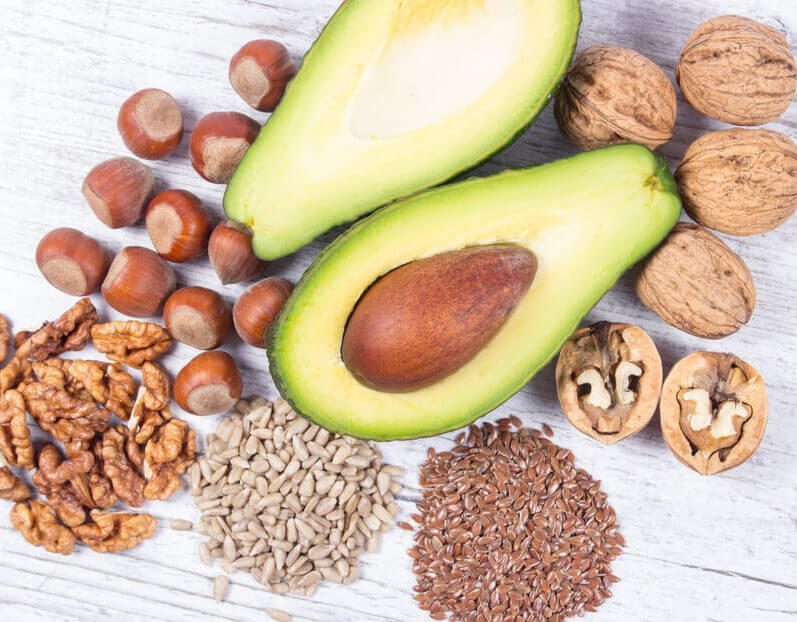 Sources of omega 3 fatty acids: flaxseeds, avocado, walnuts and sunflower