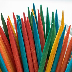 Colorful toothpicks up close