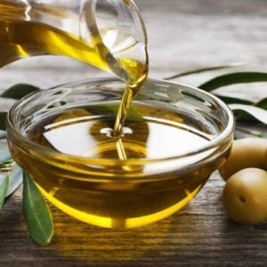 Olive oil in a glass bowl