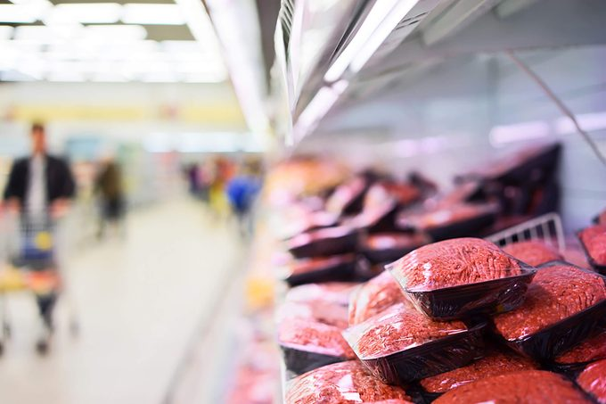 Meat aisle in a grocery store