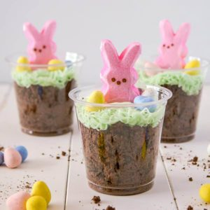 Dirt cup treats topped with pink bunny peeps