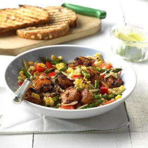 Grilled Jerk Shrimp Orzo Salad