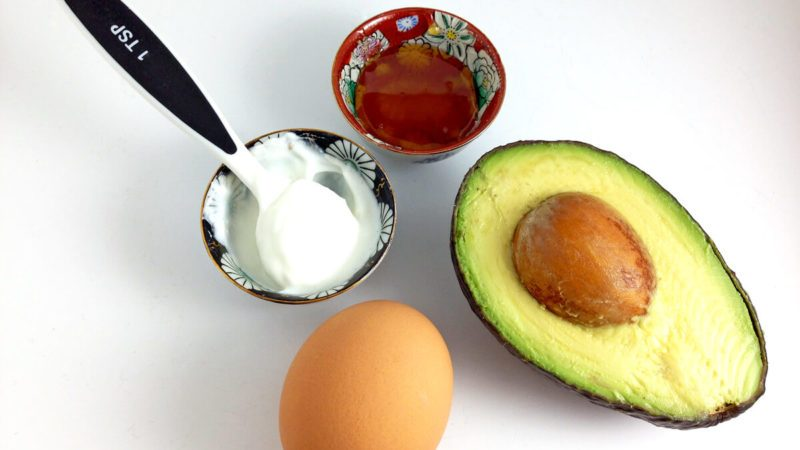 DIY face mask ingredients, avocado, egg, yogurt, honey