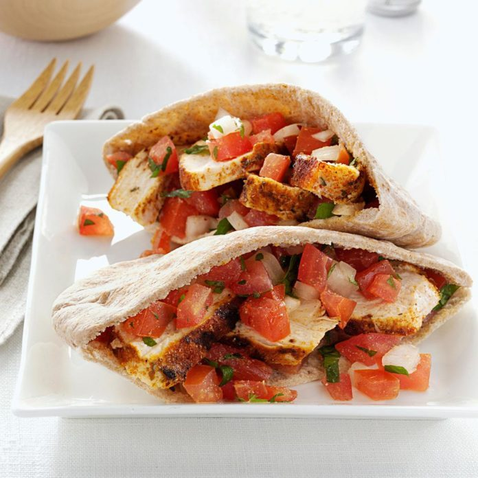 Spicy Chicken Tomato Pitas