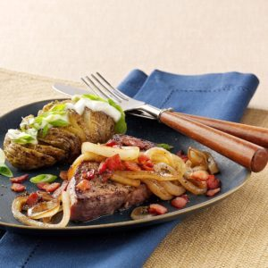 Steaks with Molasses-Glazed Onions