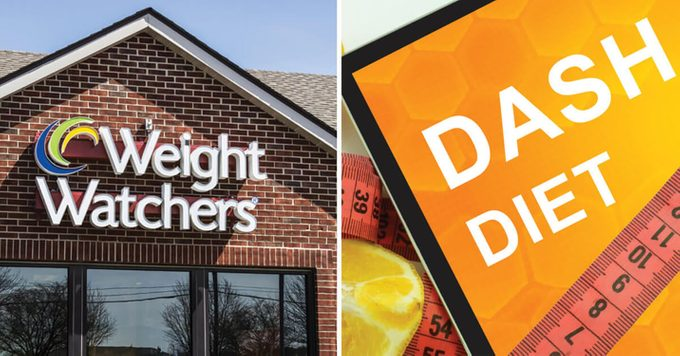 Weight Watchers and DASH Diet signs side-by-side