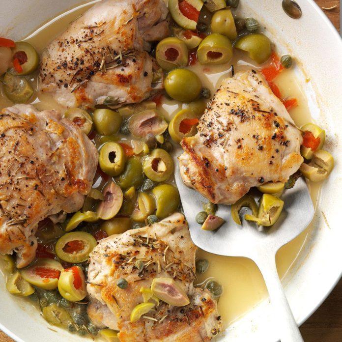 Skillet Chicken With Olives Recipe Taste Of Home