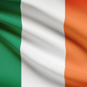 Irish flag blowing in the wind. Part of a series