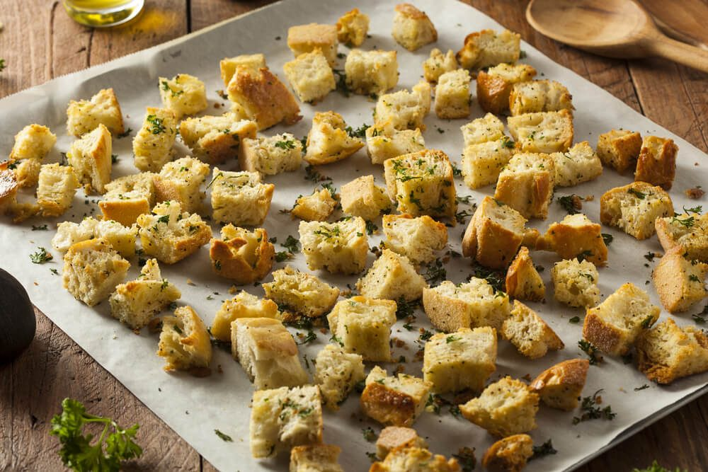 Fresh Homemade French Croutons with Seasoning and Parsley