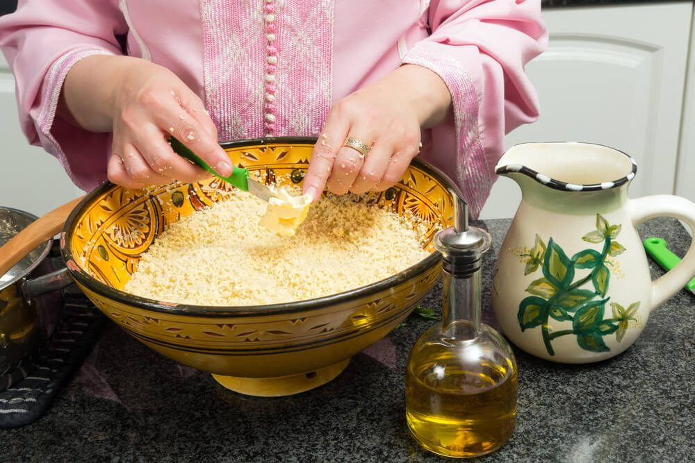 Moroccan couscous being prepared