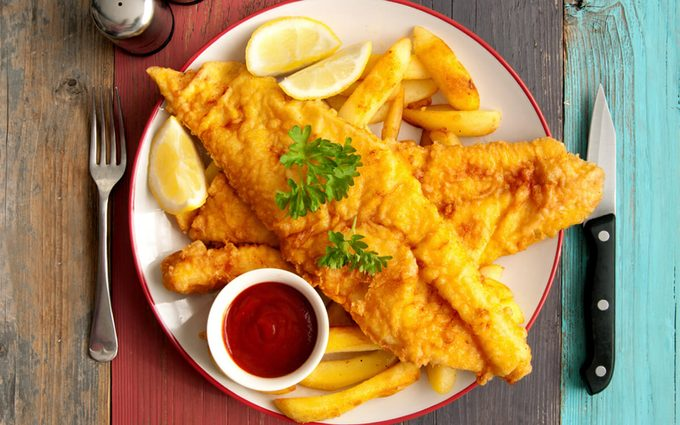 Fish on a plate with chips