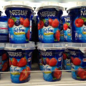 Klang , Malaysia - June 17th 2017 : Nestle is a brand name of fat free yogurt display on the shelf in supermarket in Klang, Malaysia