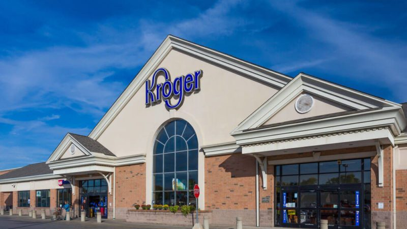 Kroger grocery store exterior and logo. The Kroger Company is an American supermarket chain.