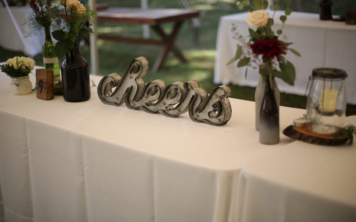 cheers wedding decor