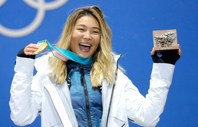 9375299l) Gold medalist Chloe Kim of the US during the medal ceremony for the women's Snowboard Halfpipe event during the PyeongChang 2018 Olympic Games, South Korea, 13 February 2018. Snow Boarding - PyeongChang 2018 Olympic Games, Daegwallyeong-Myeon, Korea - 13 Feb 2018