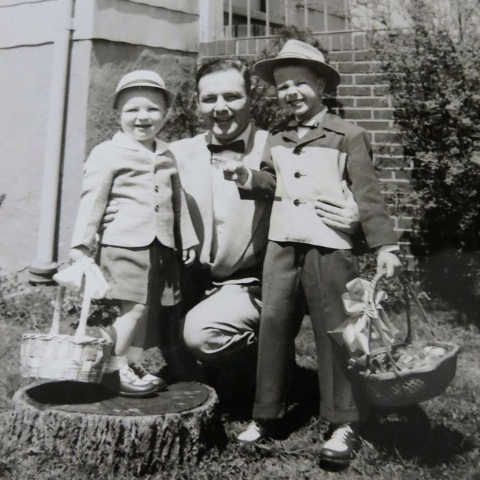 Martin Lee Klug (left) and his brother, Richard, with their father, Leo, in front of their grandparents' home in Baltimore on Easter Sunday, ca. 1955