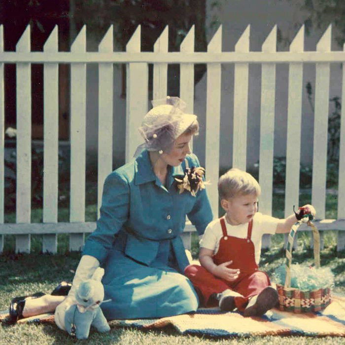Alice Hurst with her son Tom Hurst at Easter in Inglewood, CA, 1951.