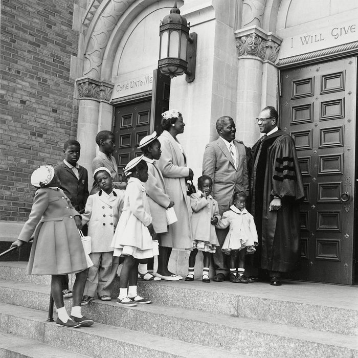 Mandatory Credit: Photo by AP/REX/Shutterstock (6627559a) Taylor Boyd Louis Boyd, 41, wife, Dorothy, 38, and their eight children stand on the steps of Concord Baptist Church of Christ with pastor Rev. Dr. Gardner C. Taylor, right, in Brooklyn after attending Easter Services, . The Boyds arrived yesterday from New Orleans EASTER REV. TAYLOR BOYD FAMILY, NEW YORK, USA